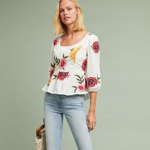 Anthropologie Petal Embroidered Poplin Blouse